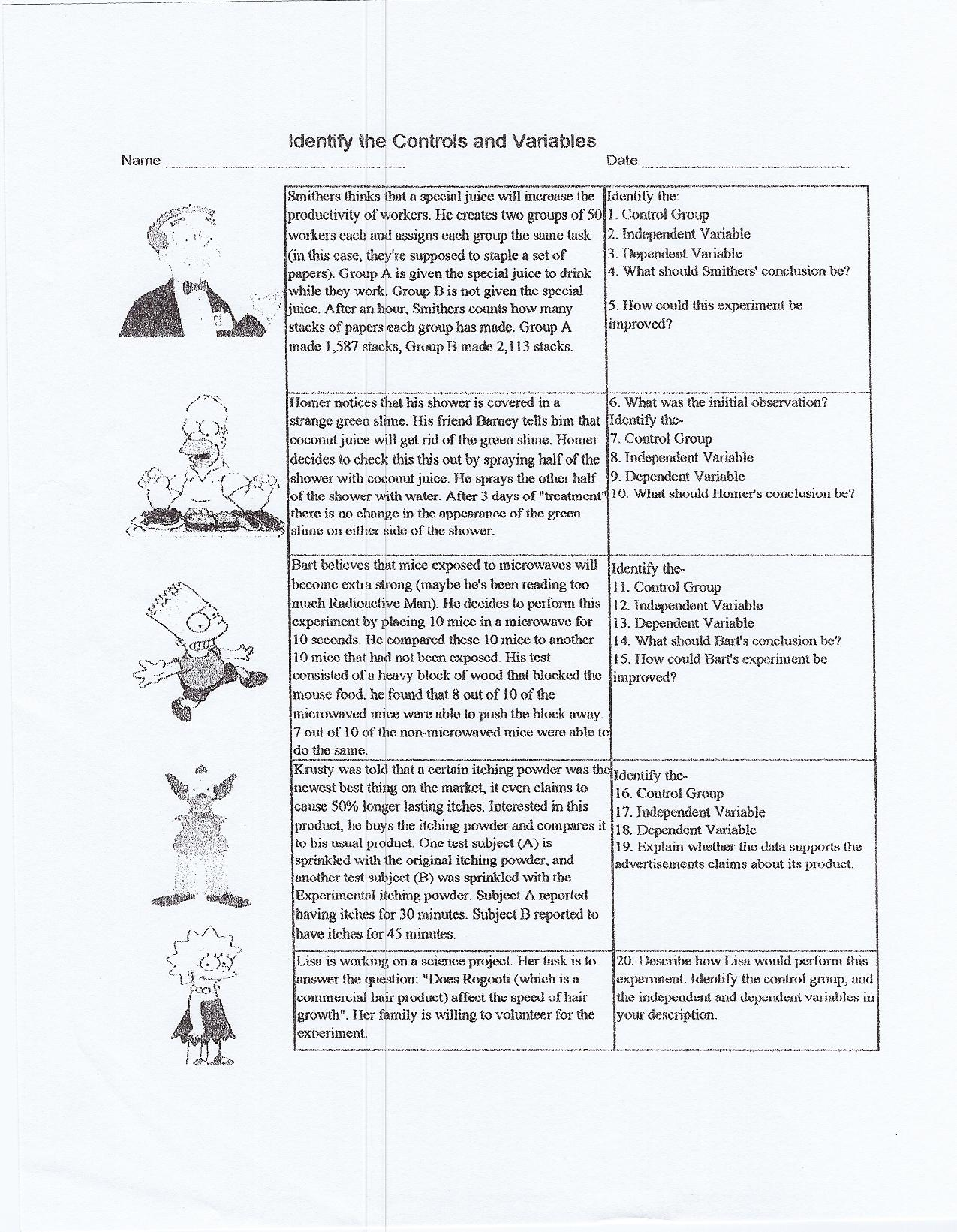 Worksheets Science And The Scientific Method Worksheet singhal seema biology 1 identify controls and variable 2 scientific method worksheet