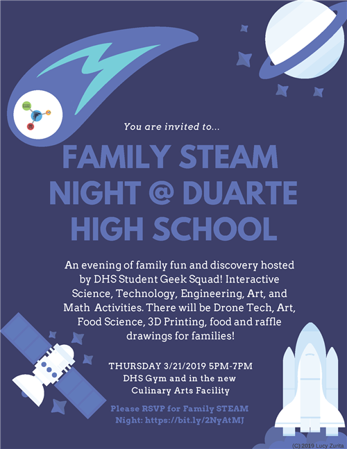 Family STEAM Night on Thursday, March 21 from 5 PM to 7 PM