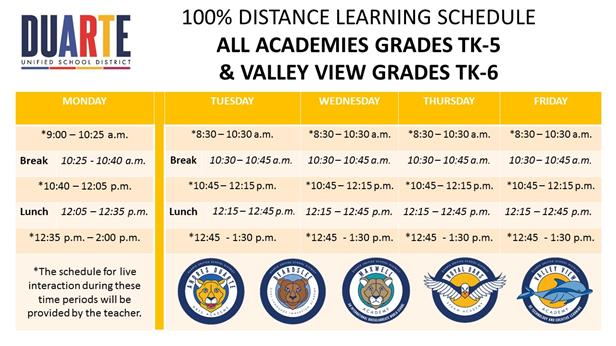Academy Distance Learning Schedule